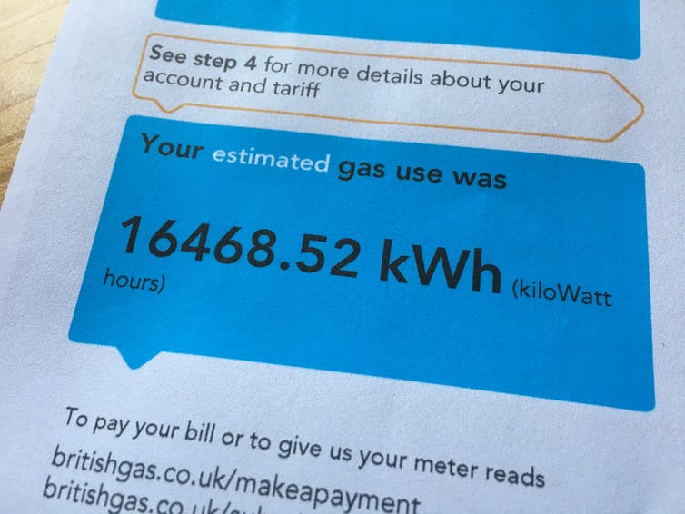 Close-up of a gas bill