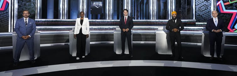 Bloc Québecois leader Yves-Francois Blanchet, Green Party leader Annamie Paul, Liberal leader Justin Trudeau, NDP leader Jagmeet Singh and Conservative leader Erin O'Toole before the federal election English-language leaders' debate.