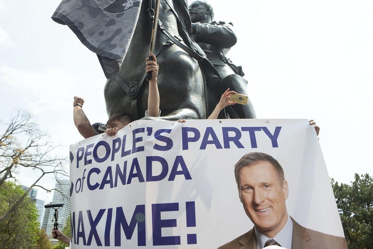 Poster that reads 'People's party of Canada MAXIME!' plus a photo of Maxime Bernier