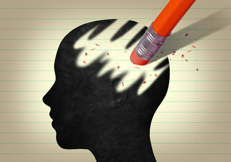 A drawing of a head with the brain being rubbed out by a pencil eraser.