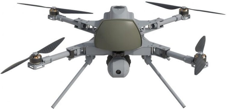 Front view of a quadcopter showing its camera