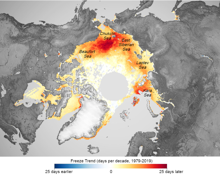 Map of the Arctic showing areas freezing later in the season, particularly north of Alaska and in the Kara Sea off Russia