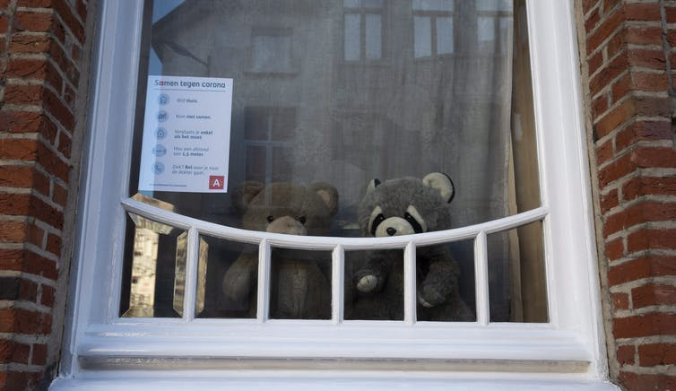 Two teddy bears seen in a window.