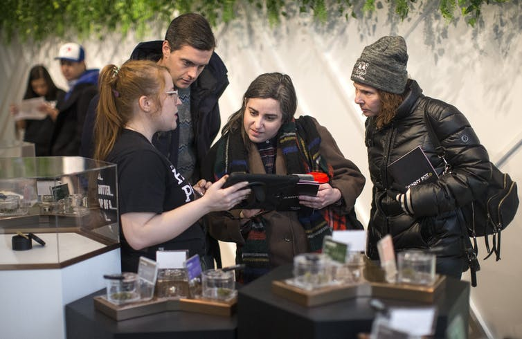 Customers shop for cannabis