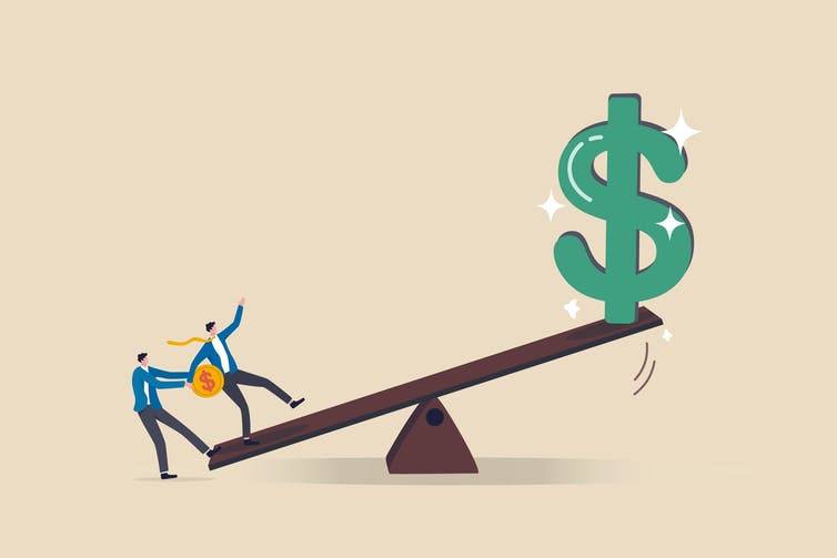 See-saw with a big dollar at one end
