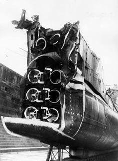 Image showing the stern of HMS Triumph, damaged by a German mine in December 1939.
