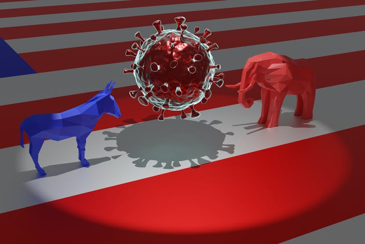 A blue donkey and a red elephant standing on either side of model of the coronavirus.