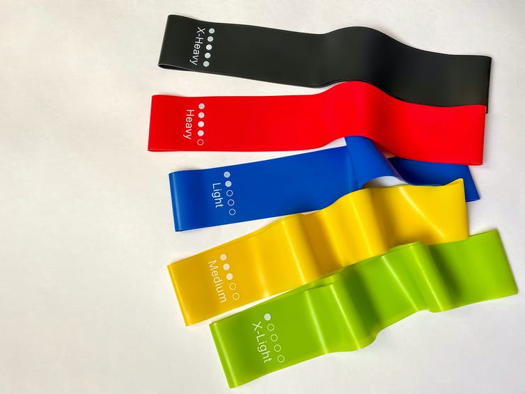 Five resistance bands with varying degrees of tension, from extra light to extra heavy.