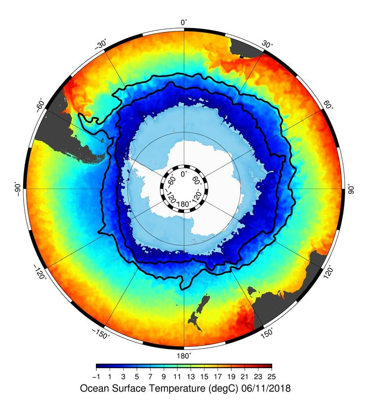 Map showing temperature differences from very cold around Antarctica to warming beyond the current.