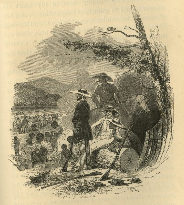 Four slave traders with guns guarding enslaved people they were transporting south from Virginia.