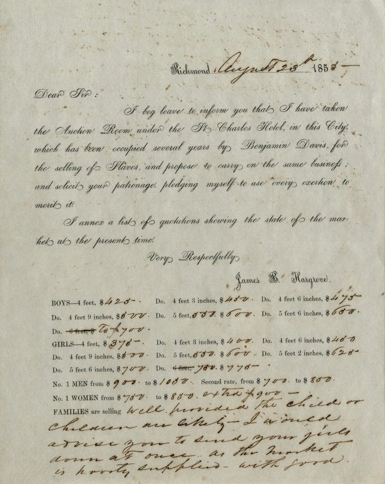 A handwritten letter announcing the opening of a slave trading company at a hotel in Richmond, Virginia.