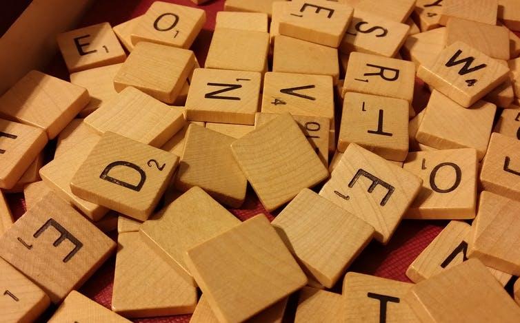 Letters in a scrabble box.
