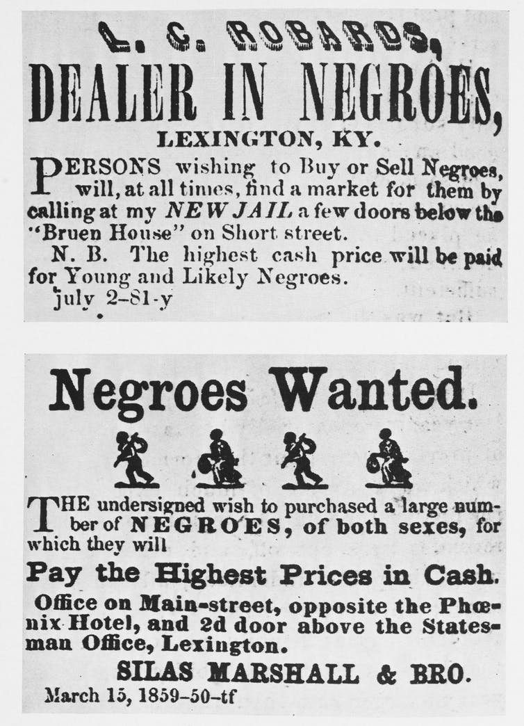 Two vintage posters from the 1840s advertising slave trader services in Kentucky.